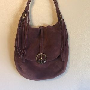 Lucky brand suede leather boho peace sign bag